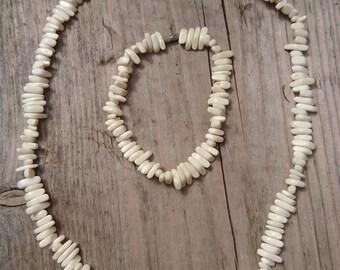 Vintage shell bead necklace and bracelet set
