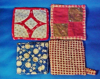 Antique Patchwork Pot Holders, Hot Mats, Group of Four, Vintage Fabrics