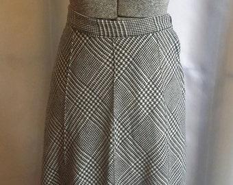 80s plaid skirt black white maxi skirt diagonal plaid skirt Kelita of New York size 5