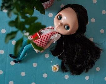 retro polka dots dress for Blythe doll / LADYBUG safari