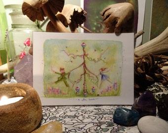 A bun dance! mini Print/Faerie Print/Fairy Art/Abundance/Faerie Art/Maypole/Fairy Cakes/Butterflies/bumble bees/Summer/Art Print