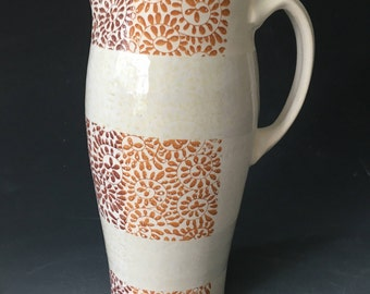 White on White Pitcher with Pattern