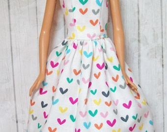 Barbie Clothes, Handmade Dress, Heart Dress, Barbie Dress, Fashion Doll Clothes, Barbie Heart Dress, Doll Clothes, Handmade, Doll Dress