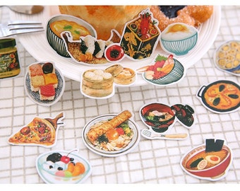 food party sticker Asian dinner noodle rice dim sum food planner sticker gourmet foodie recipes cooking book deco sticker dining sticker