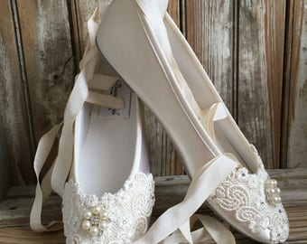 Ballet Bridal Flat Ribbon Ankle Tie Pearl Rhinestone Ballet Flat Wedding Shoe Bridal Ballet Flat Shoe
