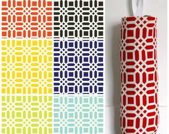 Lattice Grocery Bag Holder Made with Riley Blake Home Decor Fabric