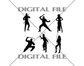 Six Ninjas Vector Images Vinyl Decal T-shirt Digital Cutting Files ,Svg File, Ai, Eps, PNG