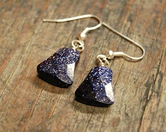 Black Glass Earrings, Black Glitter Earrings, Sparkly Glass Earrings, Navy Blue Bell Earrings, Galaxy Earrings, Unique Black Earrings
