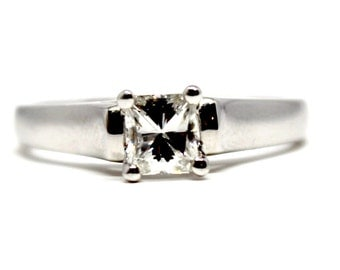 14k Rectangle Modified Brilliant Diamond 0.55ct Solitaire Engagement Wedding Ring
