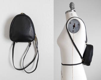 90s vintage bag - black mini backpack black leather bag - 90s Forecast bag