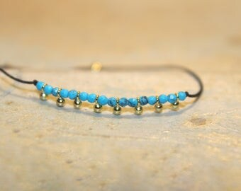 Vermeil & Turquoise Black Silk Cord Bracelet