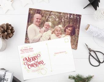 Christmas Postcard with Photo - Photo Holiday Cards - Merry Christmas - Printable or Printed
