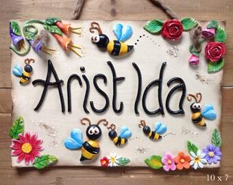 Personalised Garden Sign - Ceramic, Bumblebees Design
