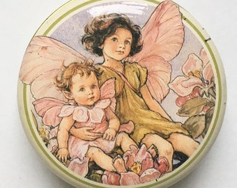 Vintage Flower Fairies tin - 1990s trinket box, pink apple blossom fairy, Cicely Mary Baker illustration, treasure, stash