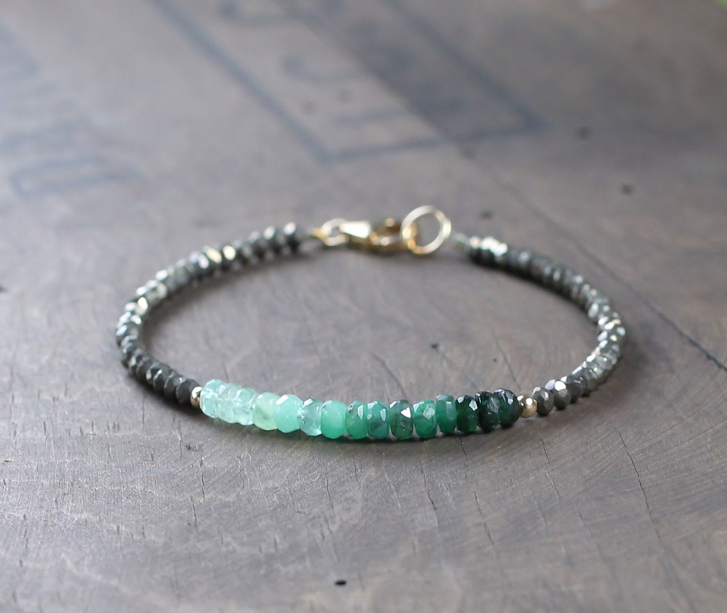 Emerald Bead Beads: Ombre Emerald Gemstone Beaded Bracelet With Pyrite Delicate