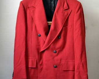 Vintage KINGSRIDGE Red Hopsack Double Breasted 6x2 Button Stance Blazer Gunmetal Black Buttons Size 42 R 42R