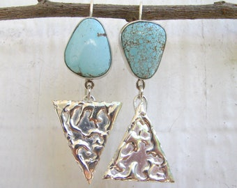 Rivoletto Asymmetrical Nevada Mine #8 Turquoise Sterling Silver Earrings