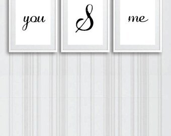 You & Me black and white Modern Simple 11 x 14 Digital Prints 3 frames