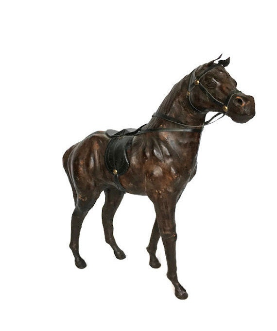 Leather wrapped quarter horse Vintage equestrian collectible statue