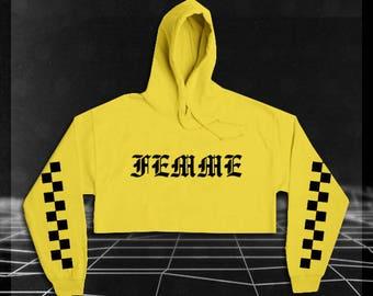 Femme Cropped Hoodie // Vaporwave Clothing // Crop Top // Street Style // Hoodie // 90's Grunge //  PRE-ORDER