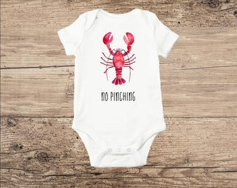 Lobster Baby Clothes, Funny Lobster Bodysuit, No Pinching