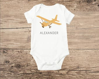 Airplane Baby Clothes, Personalized Bodysuit in Yellow