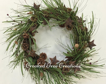 Christmas Wreath, Winter Wreath, Holiday Wreath, Pine Wreath, Woodland Wreath, Holiday Door Decor, Star Wreath, Rustic Christmas Wreath