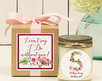 Will you be my Bridesmaid Gift // Will you be my Maid of Honor Gift // Bridesmaid Candle // Monogram Bridesmaid Gift | Monogram Gift