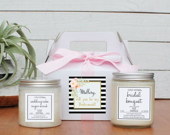 Bridesmaid Gift Set | Maid of Honor Gift Set -  Niki Label Design -  Personalized Bridesmaid Gift | Candle and Sugar Scrub Set