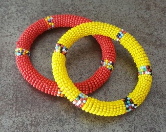Vintage Native American Bangles 1970s Red & Yellow Colorful Southwestern Seed Bead Handmade Hippie Boho Bracelet Set Retro Fun Hipster