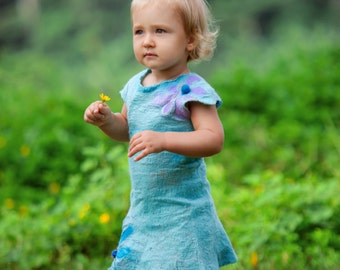 Nuno felted girly dress size 1.5 years dress blue nuno felted dress silk merino dress nuno felt flower dress PURPLE BLUE FLOWER dress