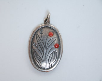 Victorian sterling silver and red coral charm / antique charm / Victorian charm / 925 silver / red coral charm /red coral and silver pendant