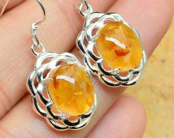 Amber Gemstone Sterling Earrings  Petite Amber Earrings