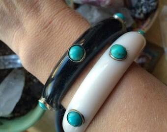 2 Boho Bangle Bracelets | Stacking Bracelets | Black and White | Howlite