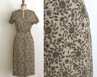 vintage 1940s dress | 40s linen wiggle dress with a pinecone novelty print