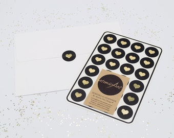 24 Black Stickers with Gold Foil Hearts - Handmade Envelope Seals - Wedding invitations & favours - Cupcake Toppers - Hershey Kiss