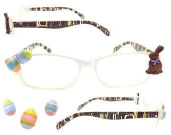 Women's 3.0 Strength Easter Reading Glasses with Hand-Applied Milk Chocolate Bunny and Pastel Easter Eggs