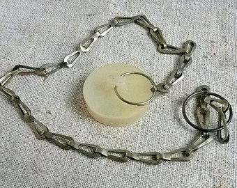 Vintage chain with sink stopper Drain plug Sink plug Stopper drain waste bath bathtub Bathroom industrial Bathroom Décor In great condition