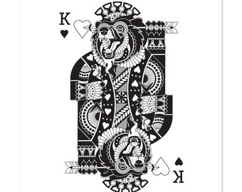 King of Hearts, Black and White, Illustration, Art Print 12x16