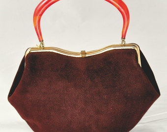 1960s handbag with lucite top handle