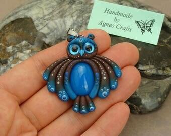 18x13 Blue Onyx Owl pendant, OOAK Blue Onyx Owl Necklace, Blue Onyx pendant, handmade polymer clay Owl pendant, Blue Onyx gemstone necklace