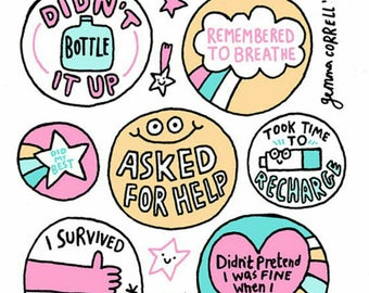 Self Care Reward Stickers by Gemma Correll ~ Vegan Friendly ~ Sticker Pack Sheet Set ~ Planner Tumblr Laptop ~ Mental Health Gift