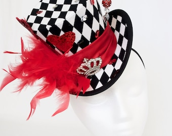 Queen Of Hearts Mini Top Hat Queen Of Hearts Mad Hatter Hat Alice In Wonderland Mini Top Hat Mad Hatter Tea Party Hat FREE USA SHIPPING!