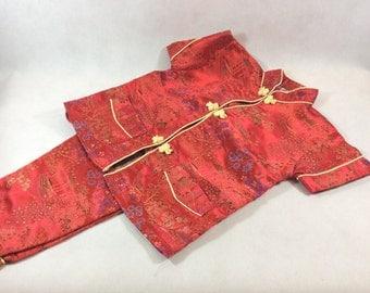 Vintage childs pajamas silk Chinese pyjamas toddlers size Christmas pyjamas with popper fastening chinoiserie red silk pyjamas 0200