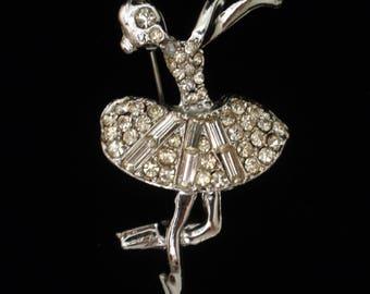 Rhinestone Ballerina or Ice Skater Figural Brooch Pin Vintage