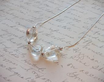 Ice rocks glass bead minimalist necklace