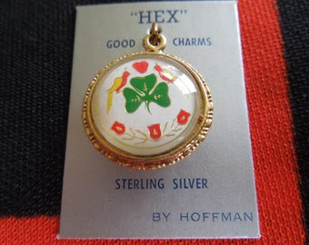 Enamel Bubble Sterling Pennsylvania Dutch Double Hex Sign Charm Shamrock Good Luck Charm On One Side for Bracelet from Charmhuntress 04555