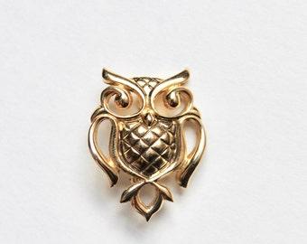 Vintage Gold Tone Owl Brooch Pin Owl Jewelry Vintage Owl Mini Owl Pin