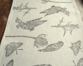 Hand block printed small table runner, grey linen, birds and butterflies print