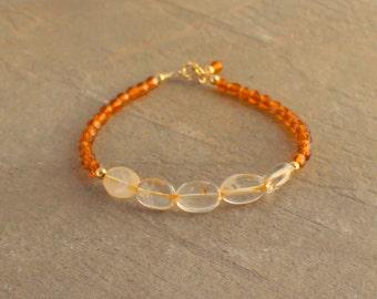 Citrine Bracelet - Vintage Bead Bracelet, November Birthstone Jewelry - Gemstone Bracelet, November Birthstone, Gold Stacking Bracelet,